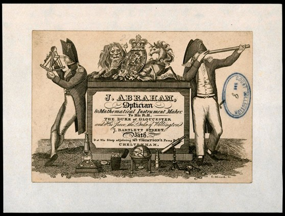 Trade card for nineteenth century optician and mathematical instrument maker