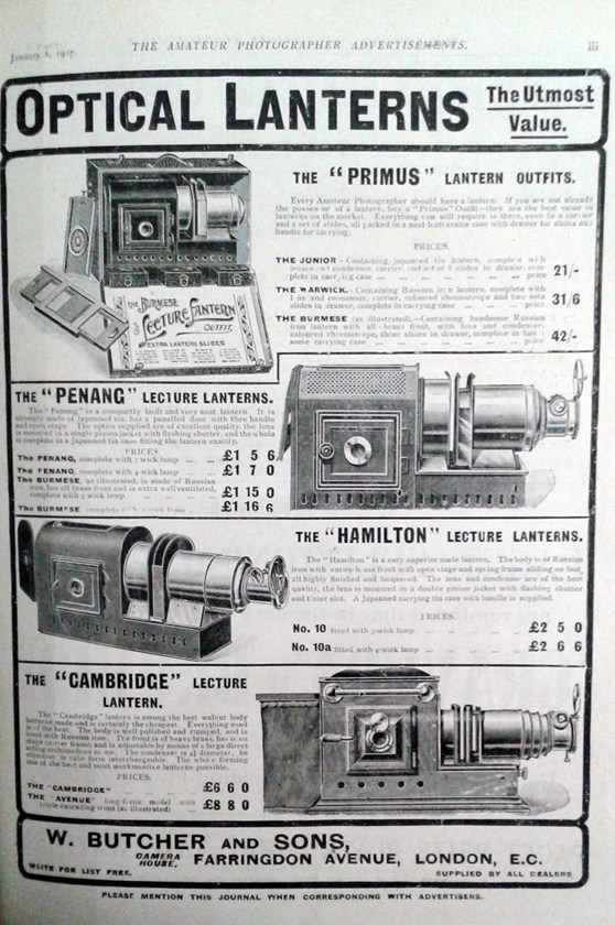 Page from a 1907 magazine showing several illustrations of optical lanterns