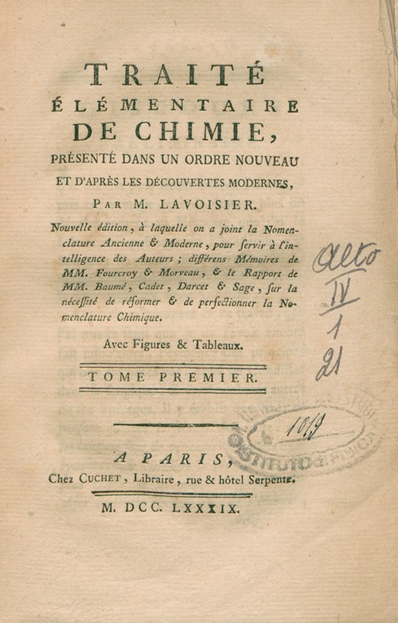 Front cover of the Elementary Treatise on Chemistry from 1789