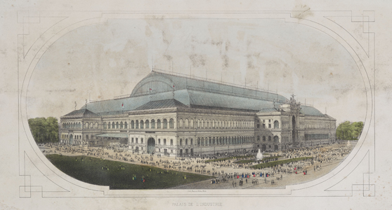 Colour lithograph of the Palace of Industry in Paris mid nineteenth century