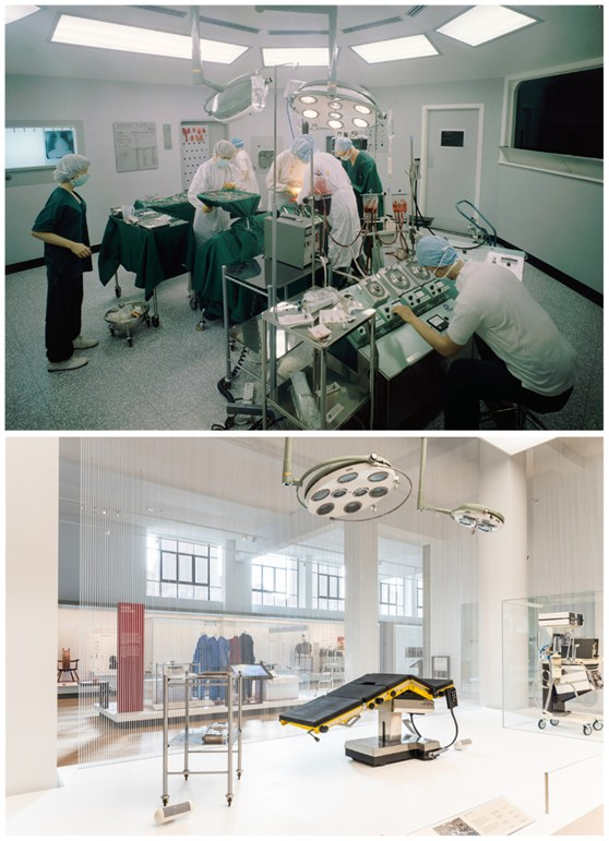 Colour photographs of an operating theatre diorama and a theatre exhibition display