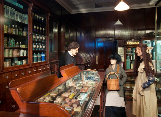 Colour photograph of a Victorian pharmacy museum diorama
