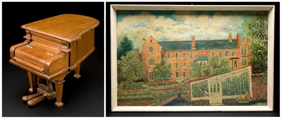 Colour photographs of a mini grand piano model and an oil painting of a large house