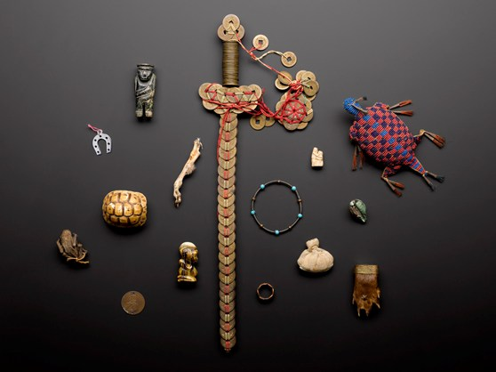 Colour photograph of a number of medicinal charms and amulets