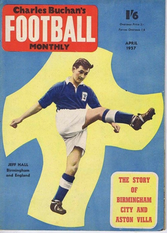 Front cover of a 1957 football magazine showing Jeff Hall